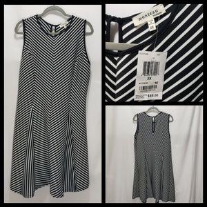 NWT Monteau Plus Size 2x Sleeveless Striped Dress